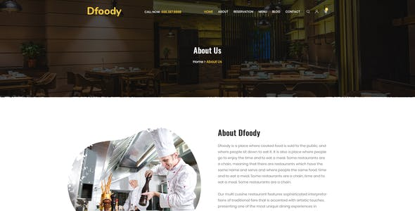 Dfoody - Restaurant PSD Template.