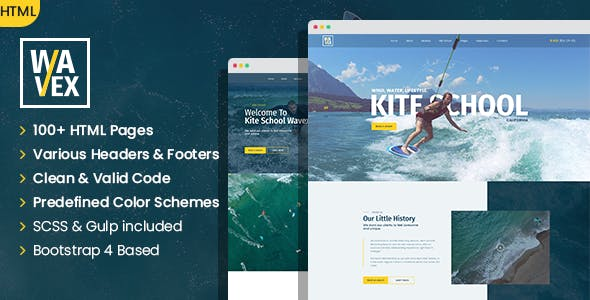 Wavex - Sailing and Surfing SinglePage and MultePage HTML template
