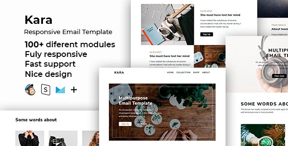 Kara – 100+ Responsive Modules + StampReady, MailChimp & CampaignMonitor compatible files - Email Templates Marketing