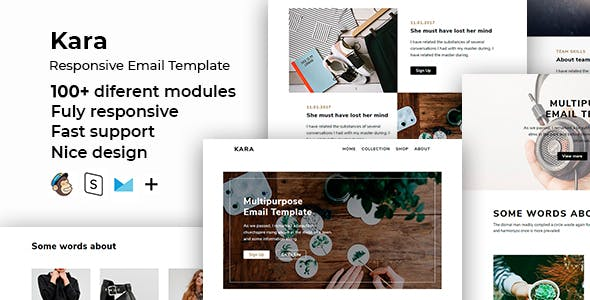Kara – 100+ Responsive Modules + StampReady, MailChimp & CampaignMonitor compatible files