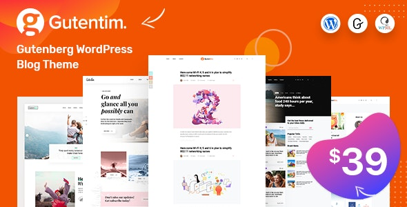Gutentim - Modern Gutenberg WordPress Blog Theme - Personal Blog / Magazine