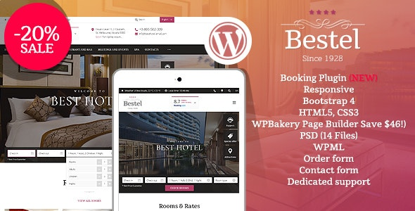 Bestel Hotel WordPress Theme - Travel Retail