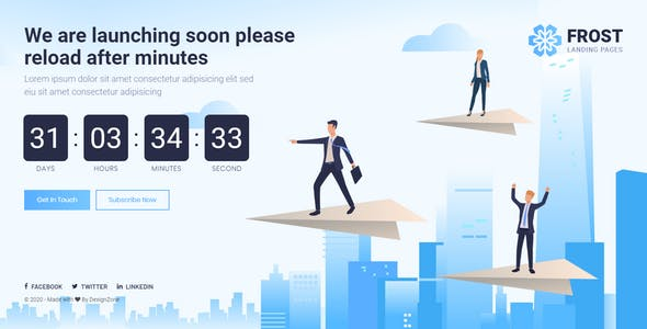 Frost - Coming Soon, Under Construction Bootstrap 4 Template
