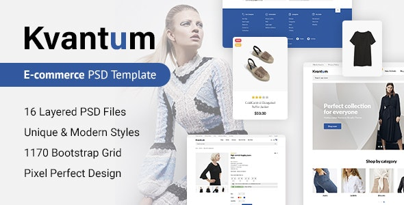 Kvantum - Responsive eCommerce PSD Template - Fashion Retail