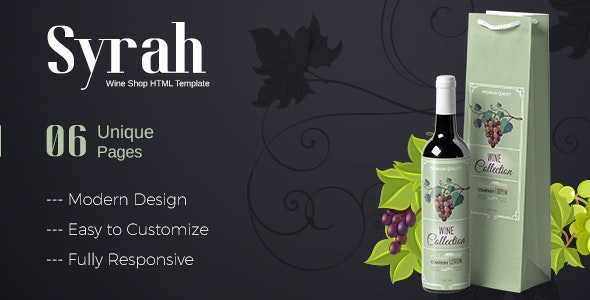 Syrah - Wine Shop HTML Template - Food Retail