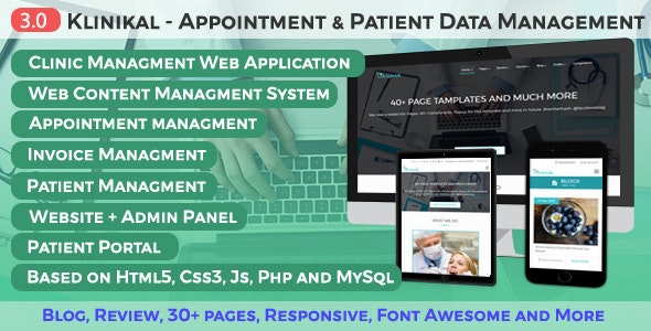 Klinikal - Appointment & Patient Data Management Responsive Web Application - Health & Beauty Retail