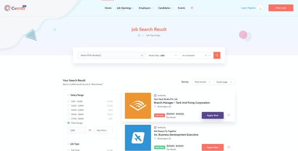 Cvento - Job Board directory template