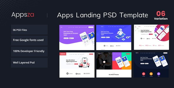 Appsza - Multipurpose App Landing Page PSD Template - Technology PSD Templates