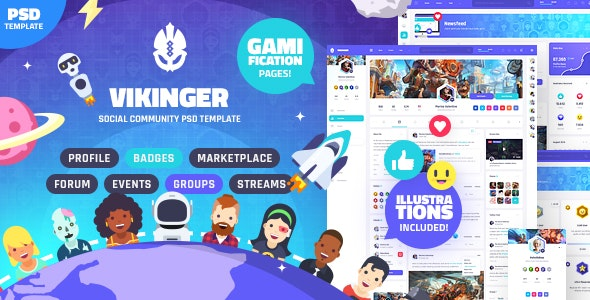 Vikinger - Social Network and Marketplace PSD Template - Creative Photoshop