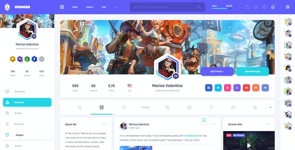 Vikinger - Social Network and Marketplace PSD Template