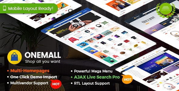 OneMall - eCommerce MarketPlace WooCommerce WordPress Theme (Mobile Layouts Included) - WooCommerce eCommerce
