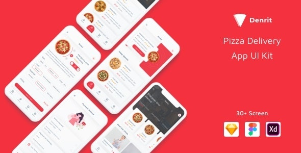 Denrit - Pizza Delivery App UI Kit - Corporate Sketch