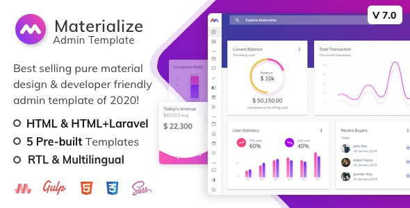 Materialize - HTML & Laravel Material Design Admin Template - Admin Templates Site Templates