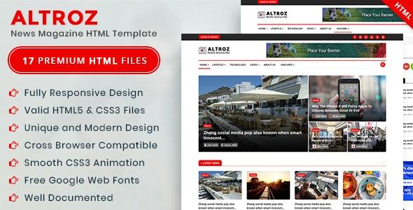 Altroz - News Magazine HTML Template - Experimental Creative