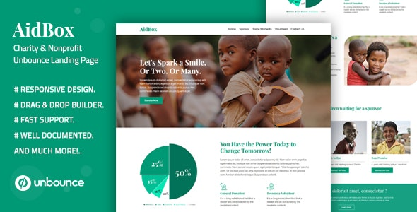 Aidbox — Charity & Nonprofit Unbounce Landing Page - Unbounce Landing Pages Marketing