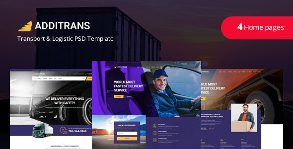 Additrans - Transport and Logistics PSD Template - Business Corporate