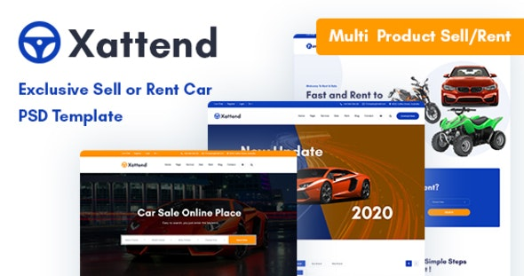 Xattend — Exclusive Sell or Rent Car PSD Template - Business Corporate