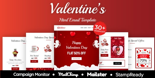 Valentine - Responsive Email Template 20+ Modules - StampReady + Mailster & Mailchimp - Newsletters Email Templates