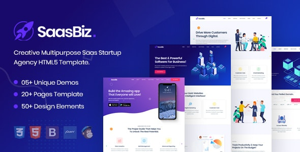 SaasBiz - Multipurpose Saas HTML Template for Startup and Agency - Technology Site Templates