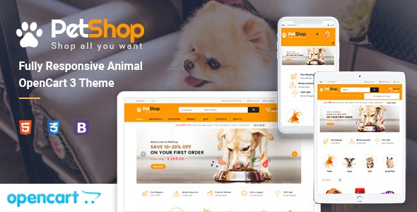 PetShop v1.0 – Responsive Pet Store OpenCart 3 Theme