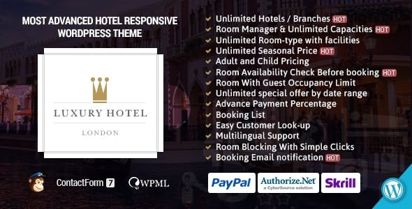 Luxury | Online Hotel Booking Reservation Theme