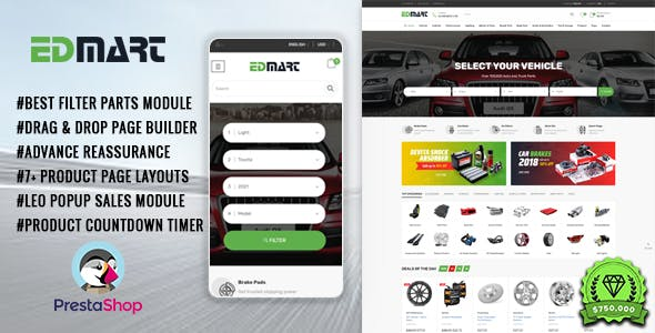 Edmart - Auto Parts &  Cars Store Prestashop Theme for Supermarket