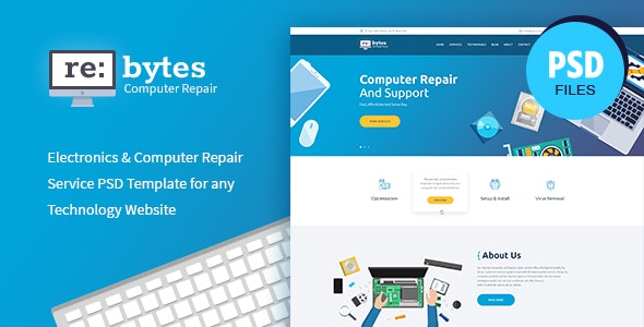 Rebytes | Electronics & Computer Repair Service PSD Template - Electronics Technology