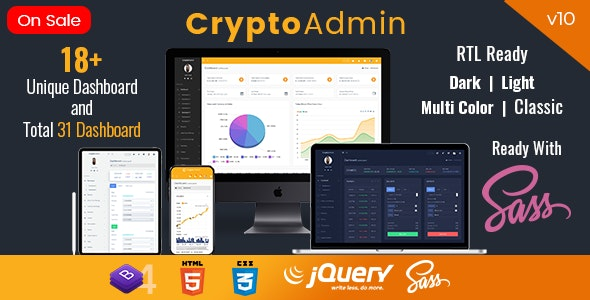 Crypto Admin - Responsive Cryptocurrency HTML Templates + Bitcoin Dashboards + ICO - Admin Templates Site Templates