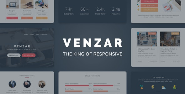 Venzar Responsive Clean Email Template - Newsletters Email Templates