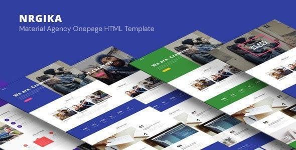 NRGika - Material One Page Portfolio Template - Portfolio Creative