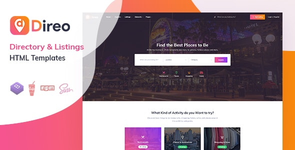 Direo - Directory & Listing HTML Template - Business Corporate