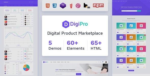 DigiPro - Digital Marketplace HTML Template with Dashboard - Shopping Retail