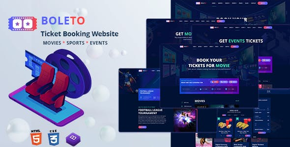 Boleto - Online Ticket Booking Website HTML Template