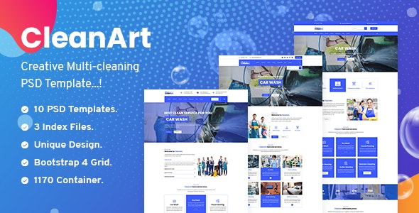 Cleanart - Housekeeping, Washing & Cleaning Company PSD Template - Corporate Photoshop