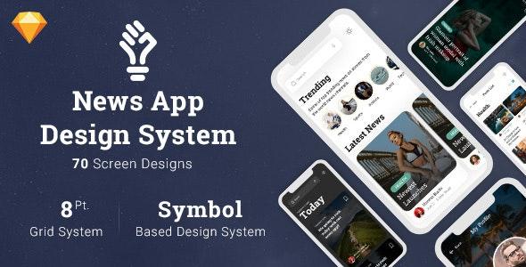 News App Design System in Sketch - Corporate Sketch