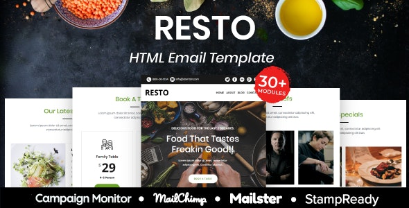 Resto - Multipurpose Responsive Email Template 20+ Modules - Mailster & Mailchimp - Newsletters Email Templates