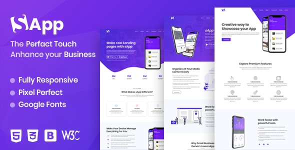 Sapp - App Landing Page - Technology Site Templates