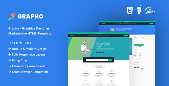 Grapho - Graphics Designer Marketplace HTML Template - Business Corporate