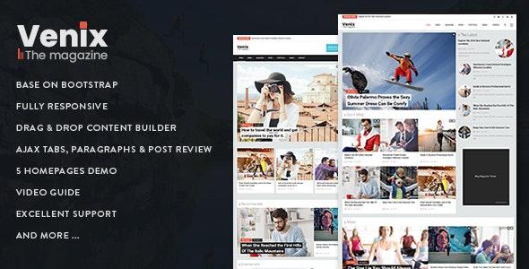 Venix - Responsive Magazine News Drupal 8.8 Theme - Blog / Magazine Drupal