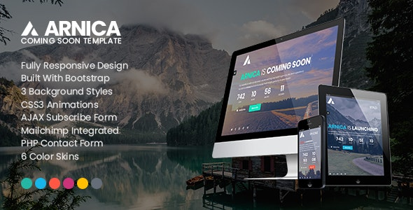 Arnica - Creative Coming Soon Template - Under Construction Specialty Pages