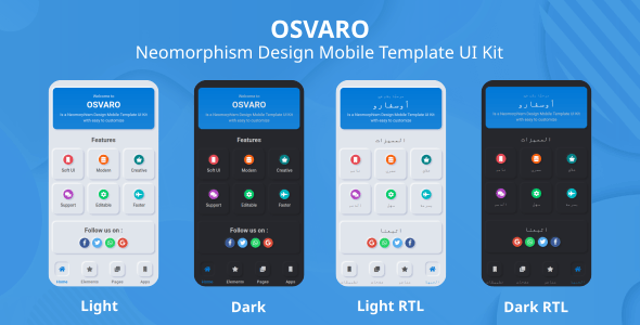 Osvaro - Neomorphism Design Mobile Template UI Kit - Mobile Site Templates