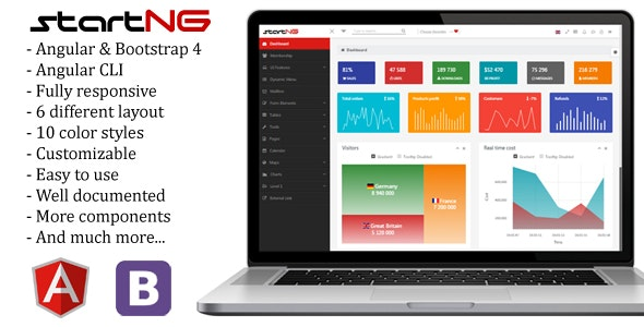 StartNG - Angular 9 Admin Template with Bootstrap 4 - Admin Templates Site Templates