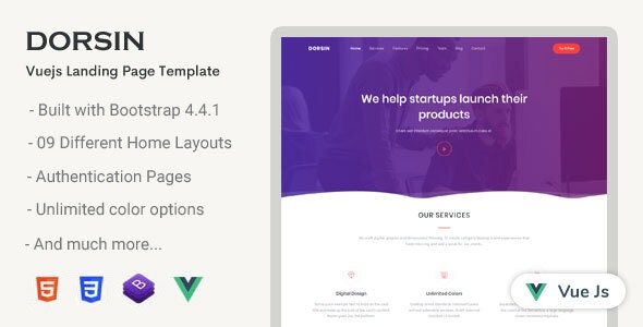 Dorsin - VueJs Landing Page Template - Corporate Site Templates