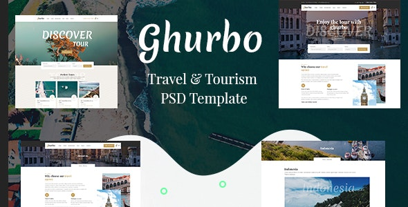 Ghurbo -  Travel & Tourism PSD Template - Travel Retail