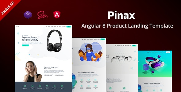 Pinax - Angular 8 Product Landing Template - Landing Pages Marketing