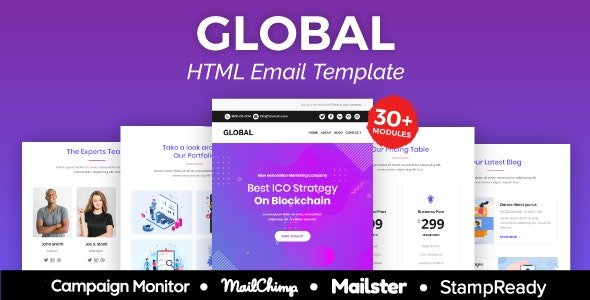 Global - Multipurpose Responsive Email Template 20+ Modules - Mailster & Mailchimp - Newsletters Email Templates