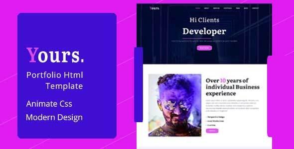Yours - Personal Portfolio HTML Template - Creative Site Templates
