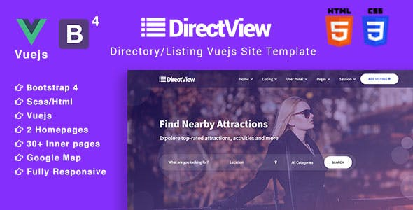 DirectView - Directory & Listings Vuejs Site Template