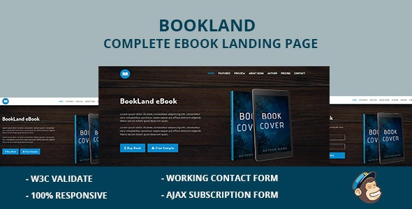 BookLand Complete E Book Landing Page - Landing Pages Marketing