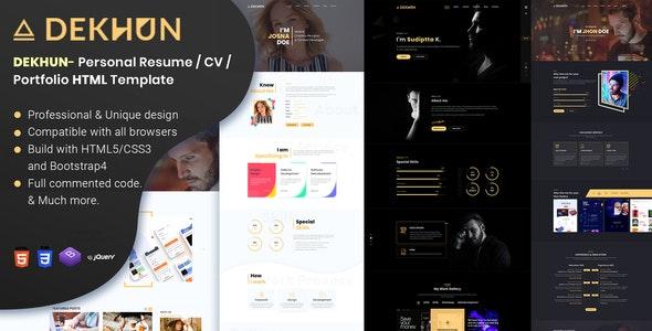 Dekhun Personal Resume / CV / Portfolio HTML Template - Personal Site Templates
